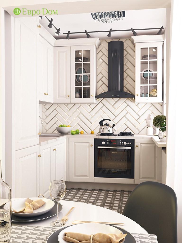 Дизайн-проект кухни двухкомнатной квартиры 45 кв. м в панельной хрущевке