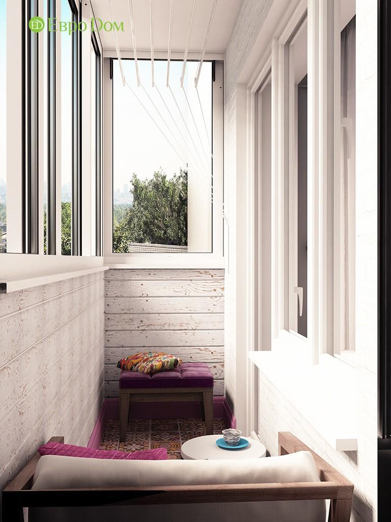 Дизайн-проект балкона панельной двухкомнатной квартиры.