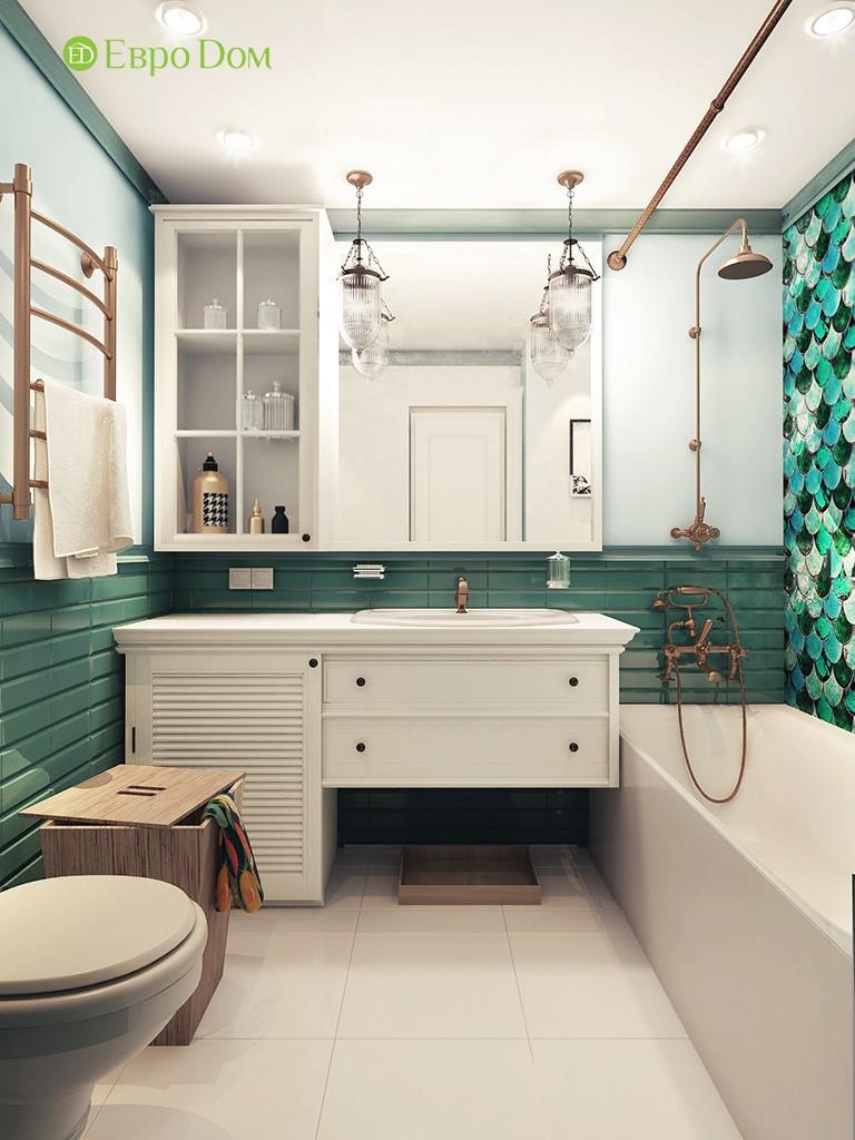 Дизайн-проект с фантазийным декором ванной комнаты панельной двухкомнатной квартиры