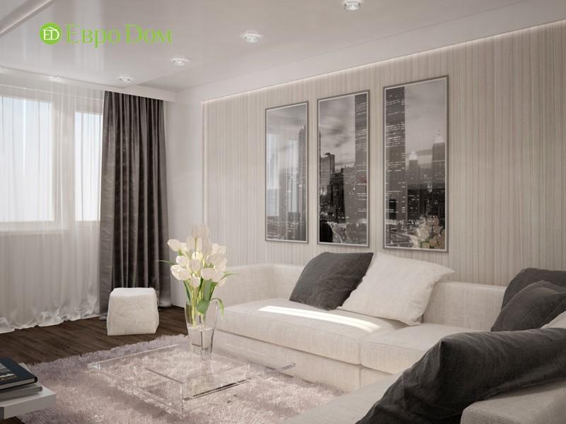 Дизайн черно-белой гостиной панельной двухкомнатной квартиры 60 кв. м