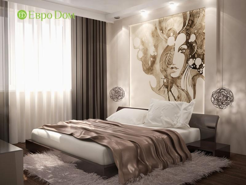 Дизайн монохромной спальни в двухкомнатной квартире 60 кв. м панельного дома.