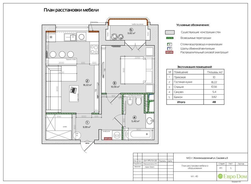 Планировка двухкомнатной квартиры 50 кв. м в современном стиле. Планировочное решение.