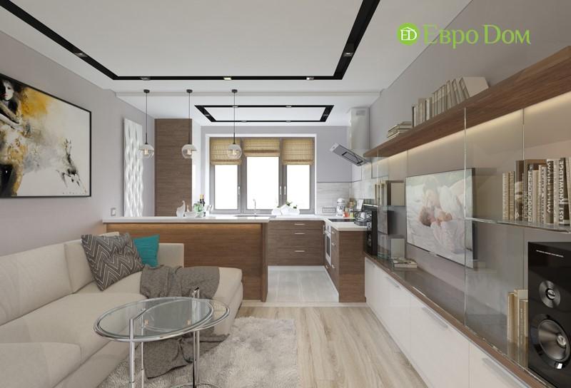 Дизайн-проект кухни-гостиной двухкомнатной квартиры 50 кв. м в современном стиле.