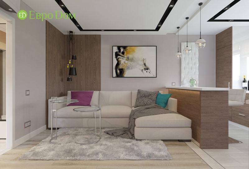 Проект кухни-гостиной двухкомнатной квартиры 50 кв. м в современном стиле.