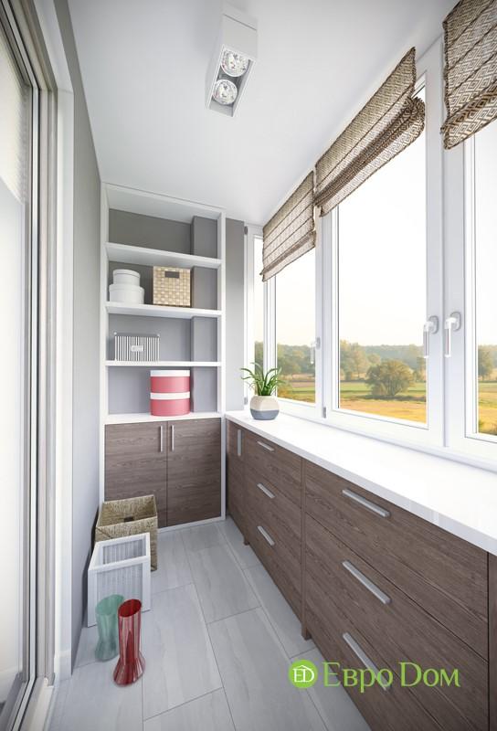 Интерьер балкона в минималистическом стиле панельной двухкомнатной квартиры 50 кв. м.