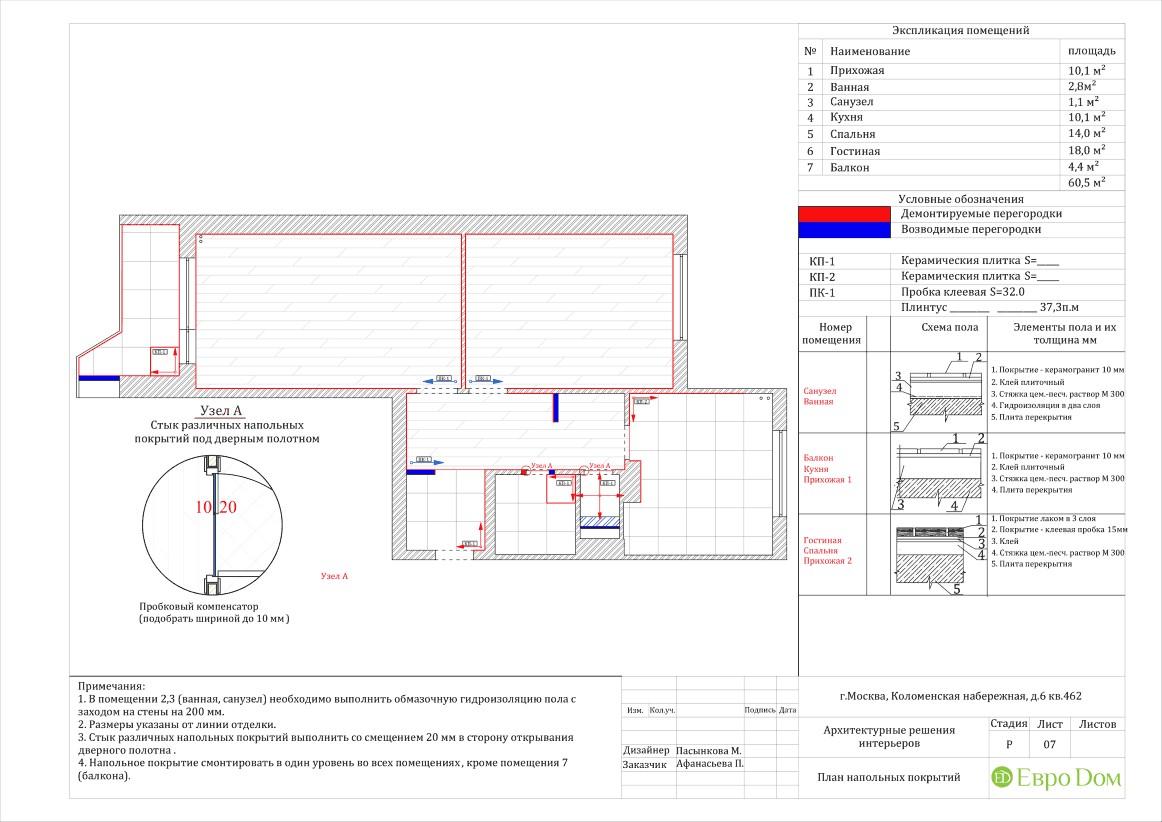 Планировка напольных покрытий, теплого пола и потолка в двухкомнатной квартире 60 кв. м