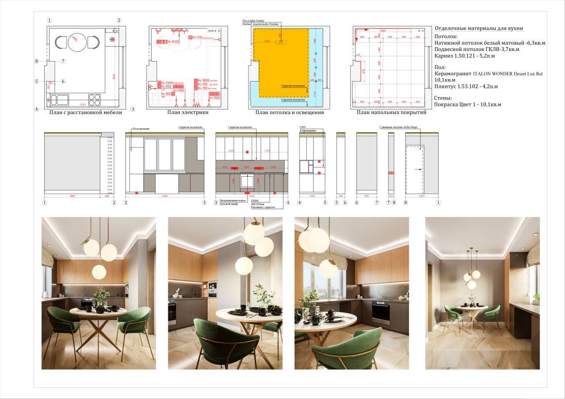 Планировка отделочных материалов в двухкомнатной квартире 60 кв. м.