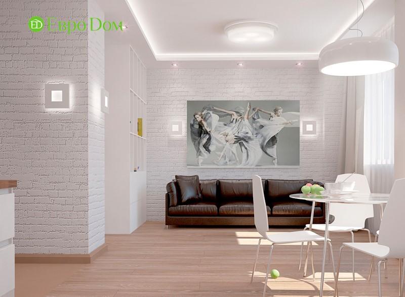 Дизайн однокомнатной квартиры-студии 47 кв. м в стиле белый лофт