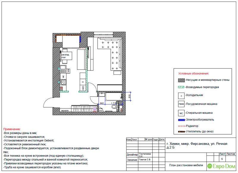 План расстановки мебели в квартире-студии 43 кв. м