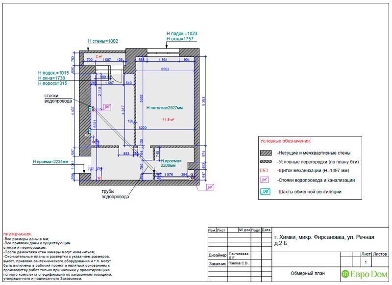 Дизайн-проект маленькой квартиры-студии. Обмерный план
