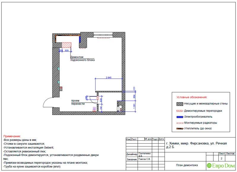 Дизайн-проект маленькой квартиры-студии. План демонтажа