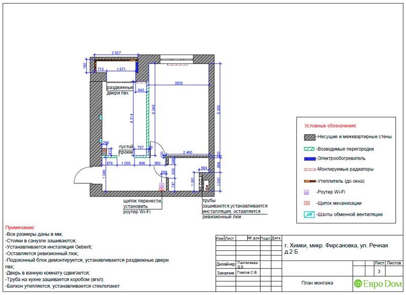 Дизайн-проект маленькой квартиры-студии. План монтажа