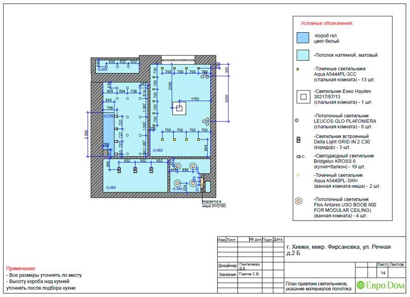 Дизайн-проект маленькой квартиры-студии. План потолка с привязкой светильников