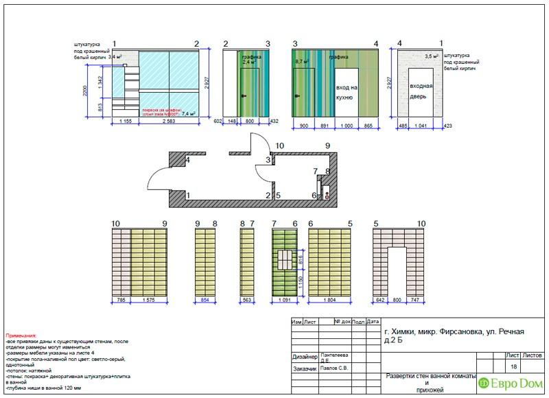Дизайн-проект маленькой квартиры-студии. Разверстки стен в ванной и прихожей