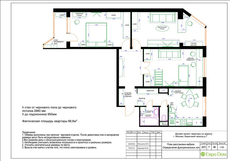 Планировка типовой 3-комнатной квартиры. План расстановки мебели
