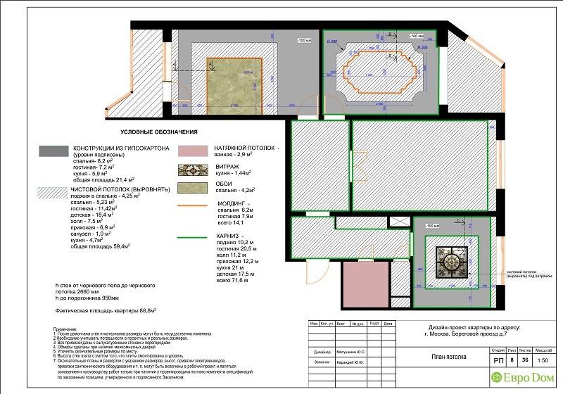 Планировка типовой 3-комнатной квартиры. План потолка