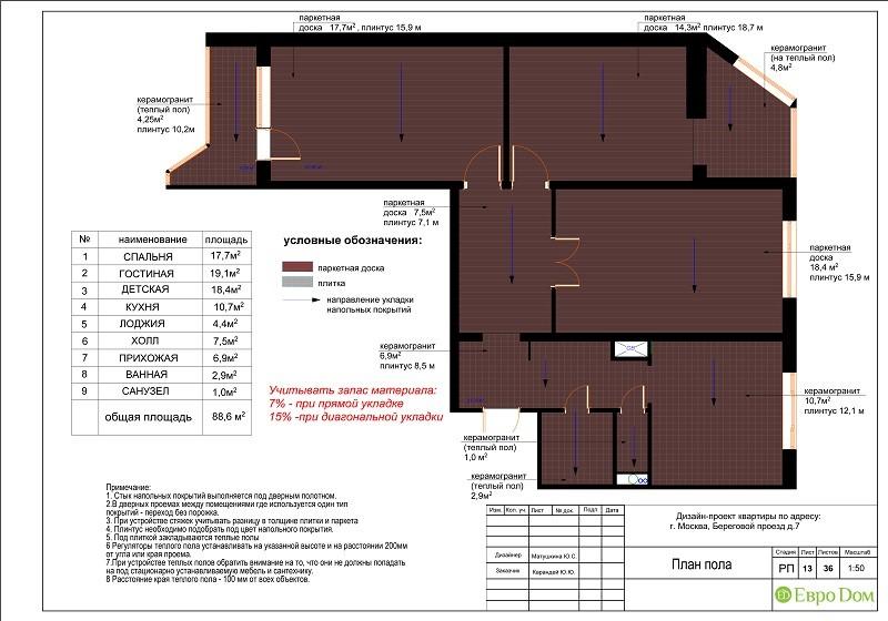 Планировка типовой 3-комнатной квартиры. План пола