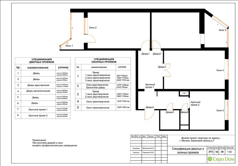 Планировка типовой 3-комнатной квартиры. Спецификация дверных и оконных проемов