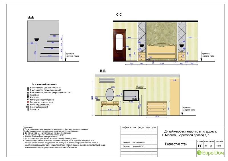 Планировка типовой 3-комнатной квартиры. Разверстка стен в спальне