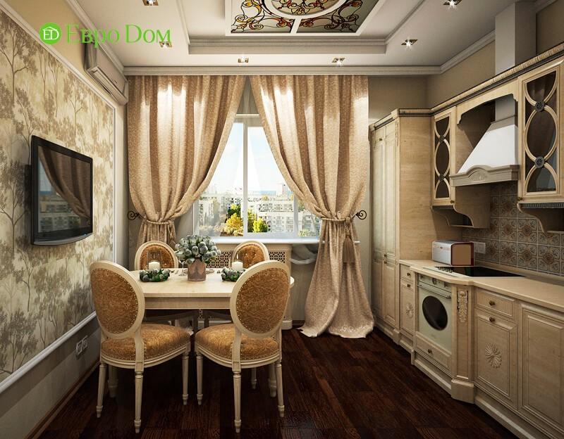 Дизайн-проект 3-комнатной квартиры в панельном доме в Москве. 3D-визуализация кухни