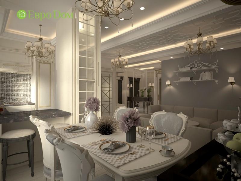 Дизайн-проект панельной трехкомнатной квартиры в стиле неоклассика. Интерьер кухни-гостиной
