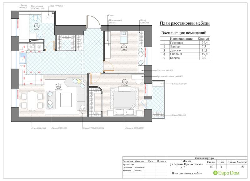 Дизайн-проект панельной трехкомнатной квартиры в стиле неоклассика. План расстановки мебели