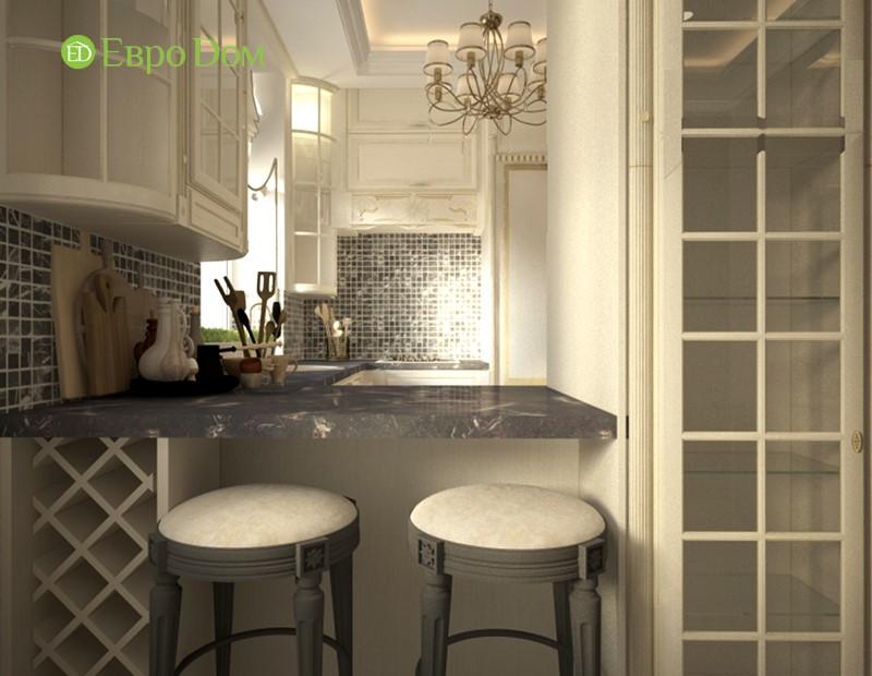 Дизайн-проект панельной трехкомнатной квартиры в стиле неоклассика. Интерьер кухни