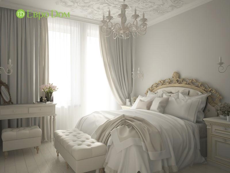 Дизайн-проект панельной трехкомнатной квартиры в стиле неоклассика. Интерьер белой спальни