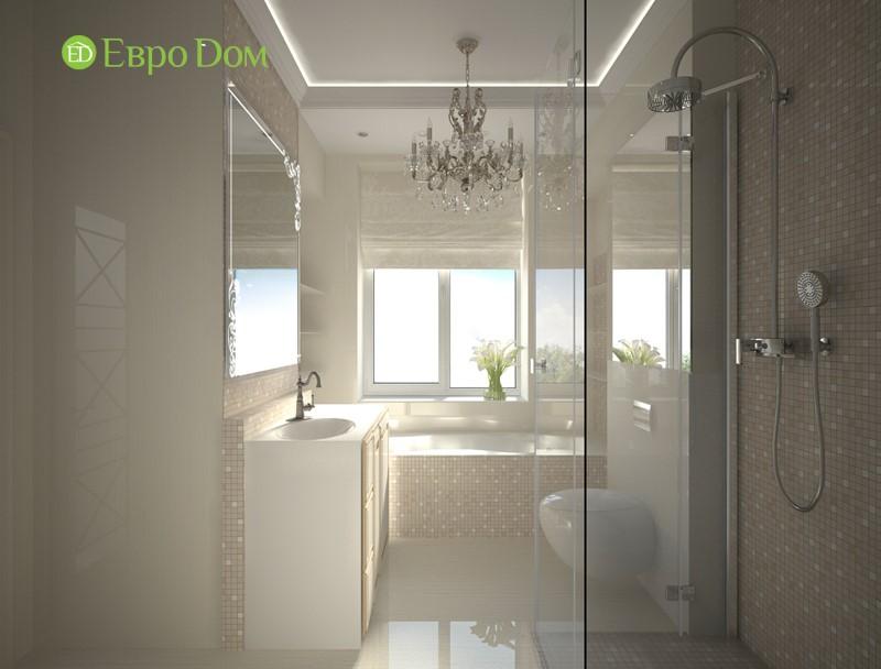 Дизайн-проект панельной трехкомнатной квартиры в стиле неоклассика. Интерьер ванной комнаты с мозаичной отделкой
