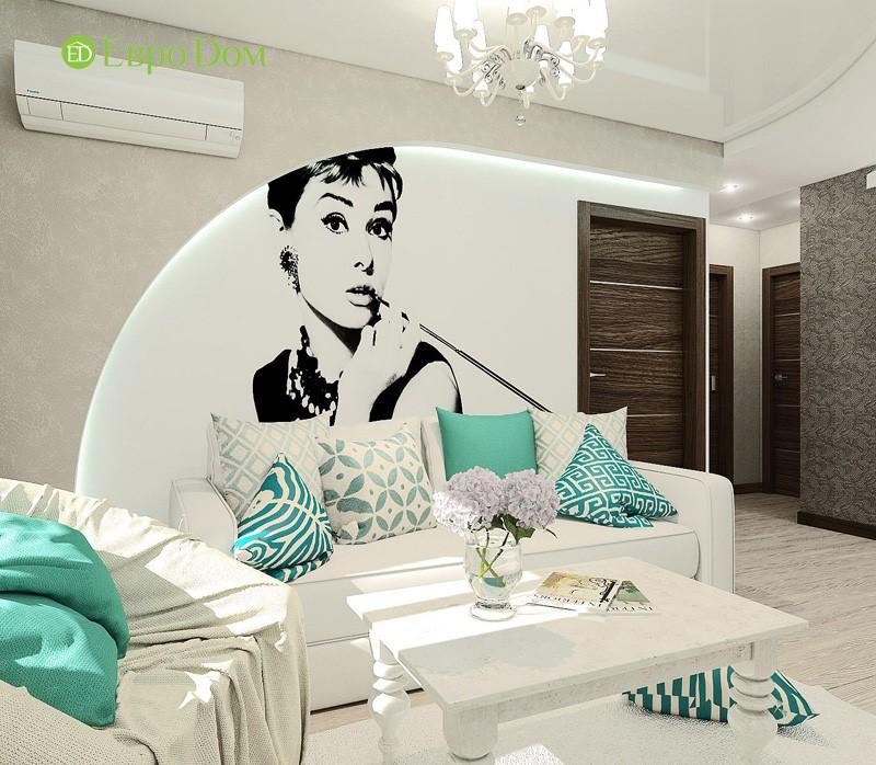 Дизайн-проект современной трехкомнатной квартиры в стиле Тиффани. Интерьер гостиной