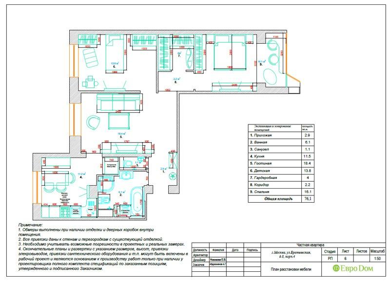 Планировка типовой трехкомнатной квартиры в стиле Тиффани. План расстановки мебели