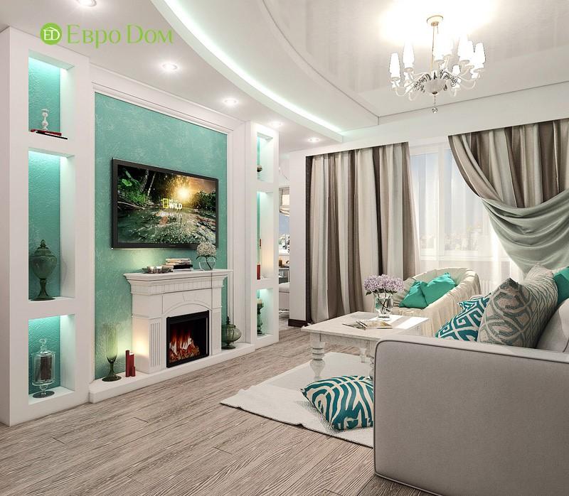 Дизайн-проект современной трехкомнатной квартиры в стиле Тиффани. Интерьер гостиной с камином