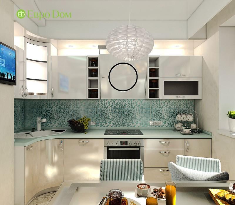 Дизайн-проект современной трехкомнатной квартиры в стиле Тиффани. Интерьер кухни с мозаичным фартуком