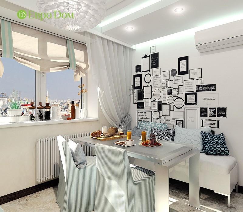 Дизайн-проект современной трехкомнатной квартиры в стиле Тиффани. Интерьер кухни
