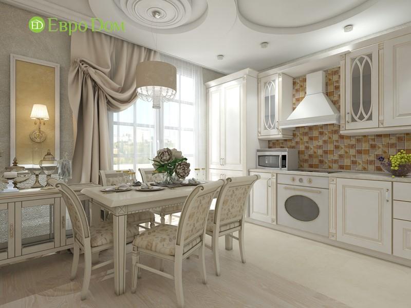 Дизайн трехкомнатной квартиры в классическом стиле. Интерьер кухни с белой мебелью