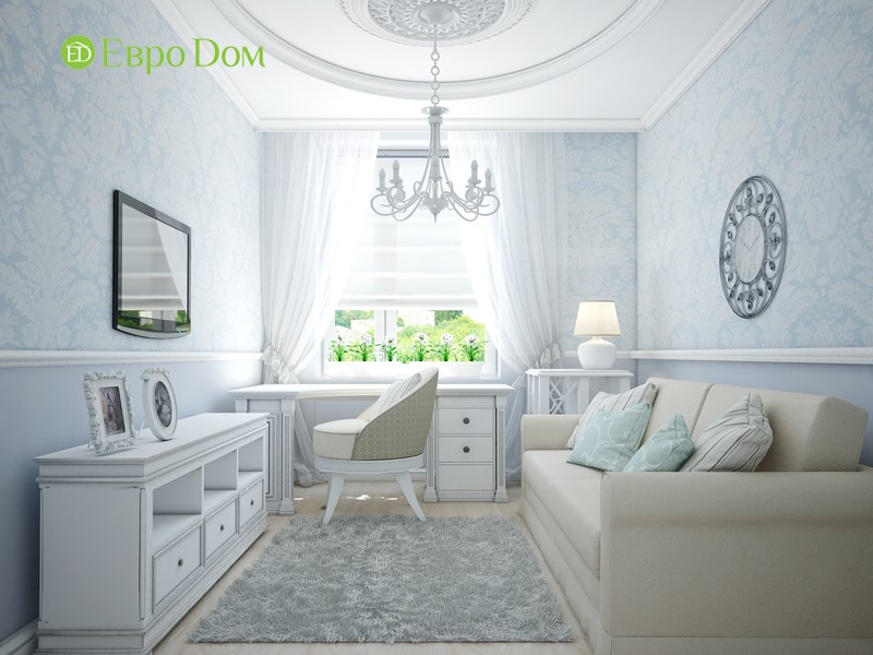 Дизайн трехкомнатной квартиры в классическом стиле. Интерьер кабинета