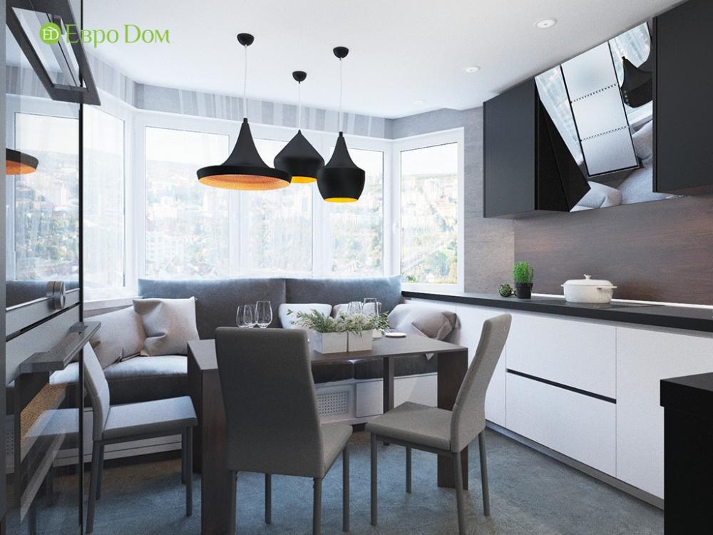 Дизайн двухкомнатной квартиры 69 кв. м в современном стиле. Кухня с эркером