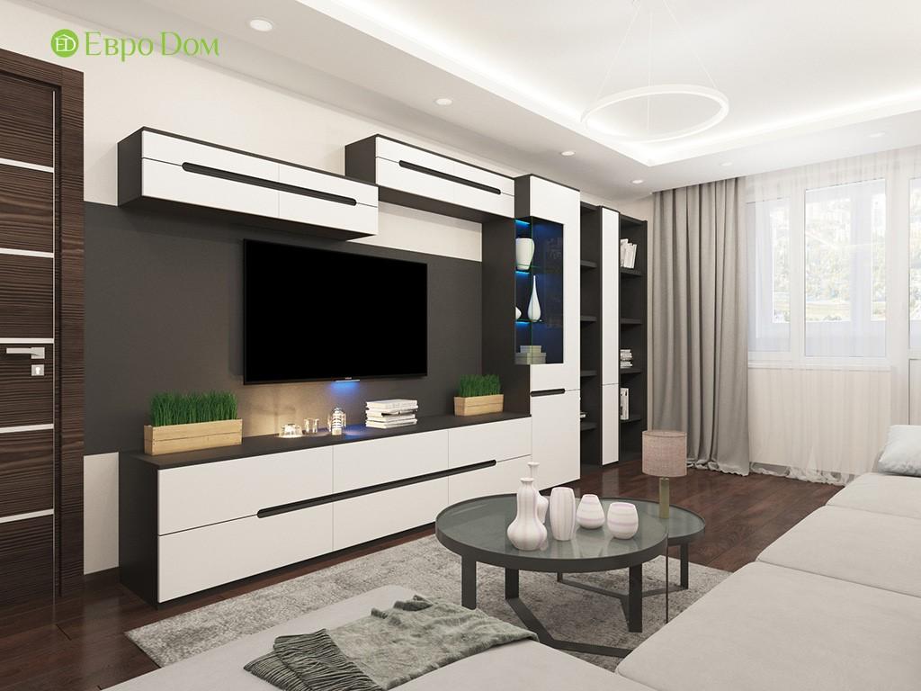 Дизайн ремонта двухкомнатной квартиры 69 кв. м в современном стиле. ТВ-зона
