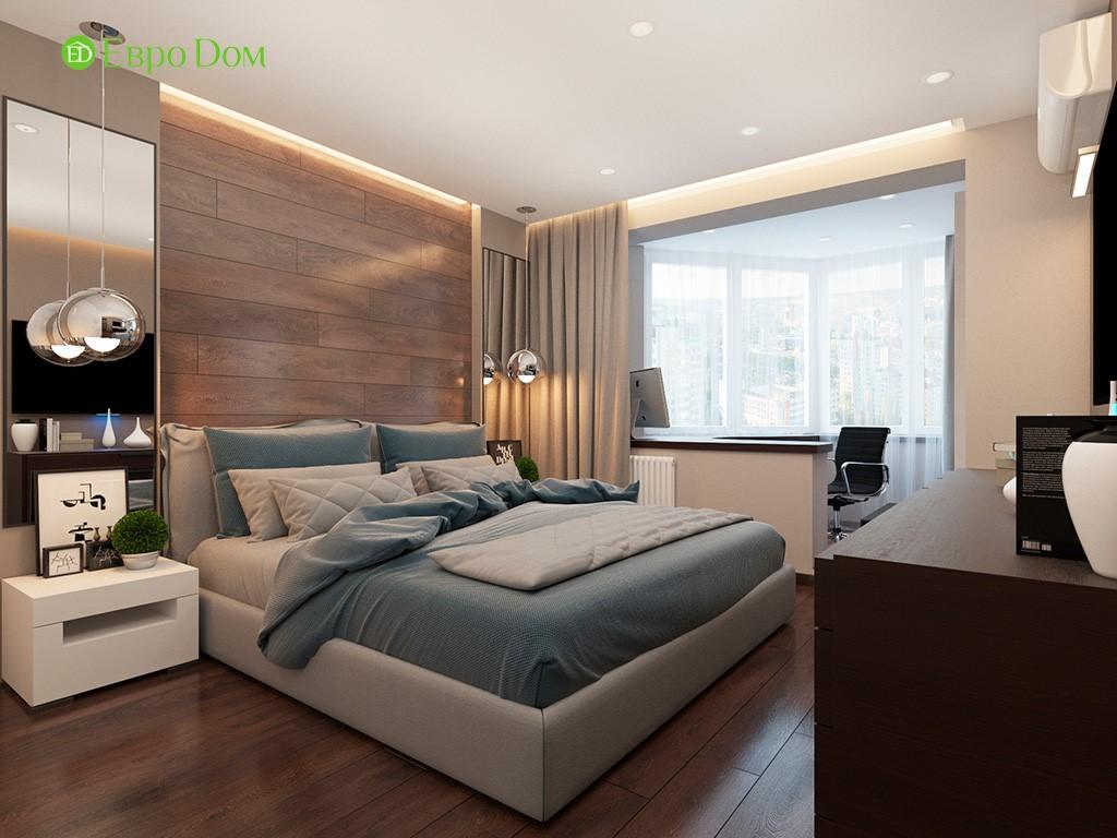 Дизайн ремонта двухкомнатной квартиры 69 кв. м в современном стиле. Спальня с кабинетом на лоджии