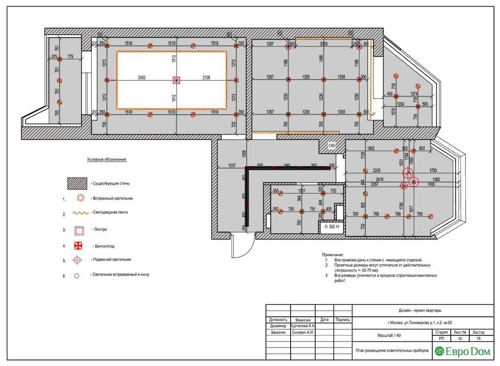 Дизайн-проект ремонта двухкомнатной квартиры 69 кв. м в современном стиле. План размещения осветительных приборов