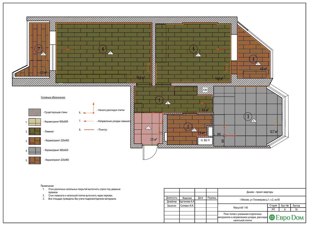 Дизайн-проект ремонта двухкомнатной квартиры 69 кв. м в современном стиле. План полов