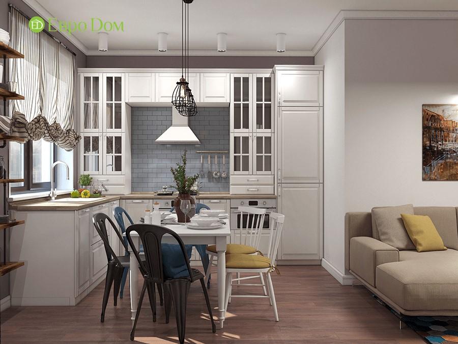 Дизайн-проект ремонта двухкомнатной квартиры 70 кв. м в стиле прованс. Интерьер кухни-столовой