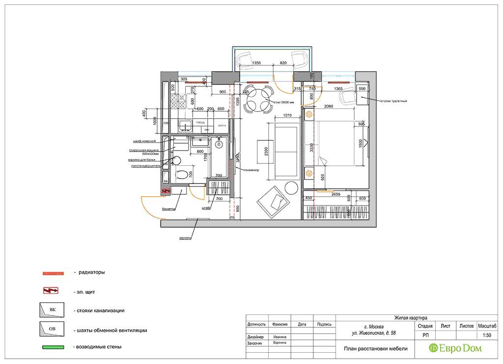 Дизайн-проект ремонта двухкомнатной квартиры 46 кв. м в стиле арт-деко. План расстановки мебели