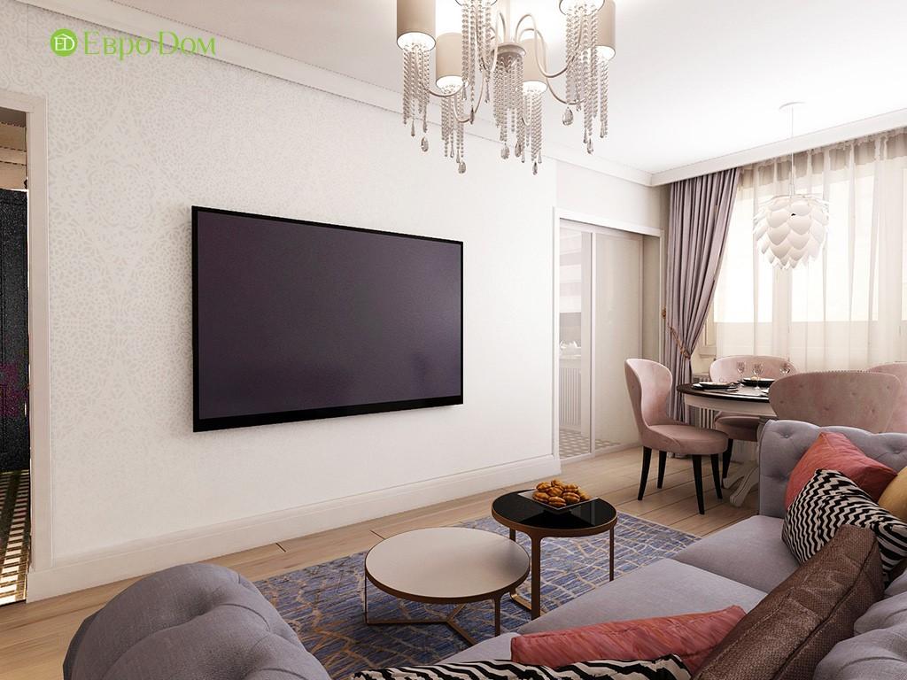 Дизайн ремонта двухкомнатной квартиры 46 кв. м в стиле арт-деко. Гостиная