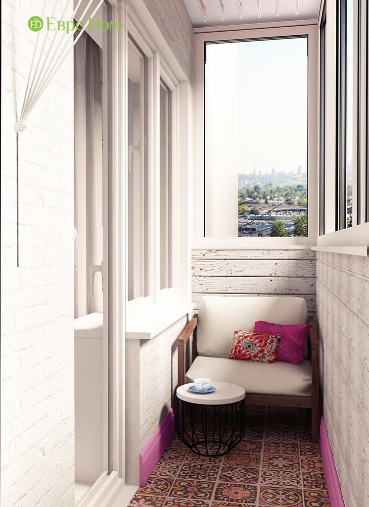 Дизайн ремонта двухкомнатной квартиры 46 кв. м в стиле арт-деко. Балкон