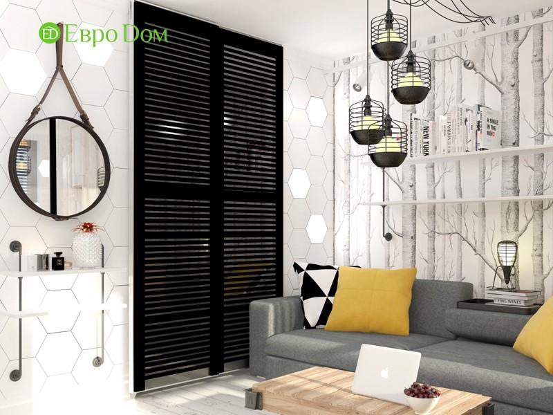 Дизайн для ремонта маленькой однокомнатной квартиры 35 кв. м в стиле лофт