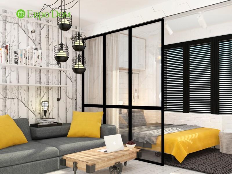 Дизайн для ремонта маленькой однокомнатной квартиры 35 кв. м в стиле лофт. Гостиная со спальным местом