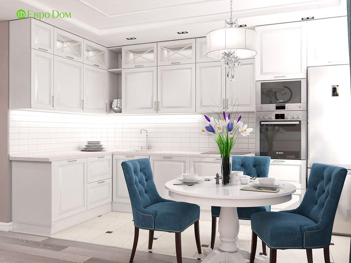 Дизайн для ремонта однокомнатной квартиры 44 кв. м в стиле неоклассика. Кухня-столовая