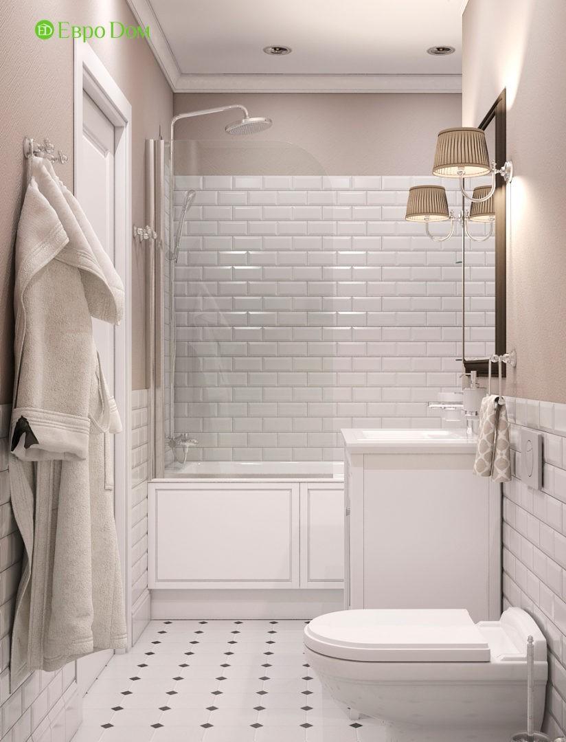 Дизайн для ремонта однокомнатной квартиры 44 кв. м в стиле неоклассика. Ванная комната