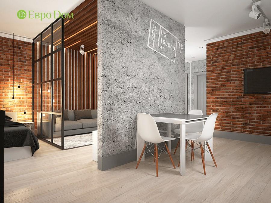 Дизайн-проект ремонта однокомнатной квартиры 49 кв. м в современном стиле. Столовая